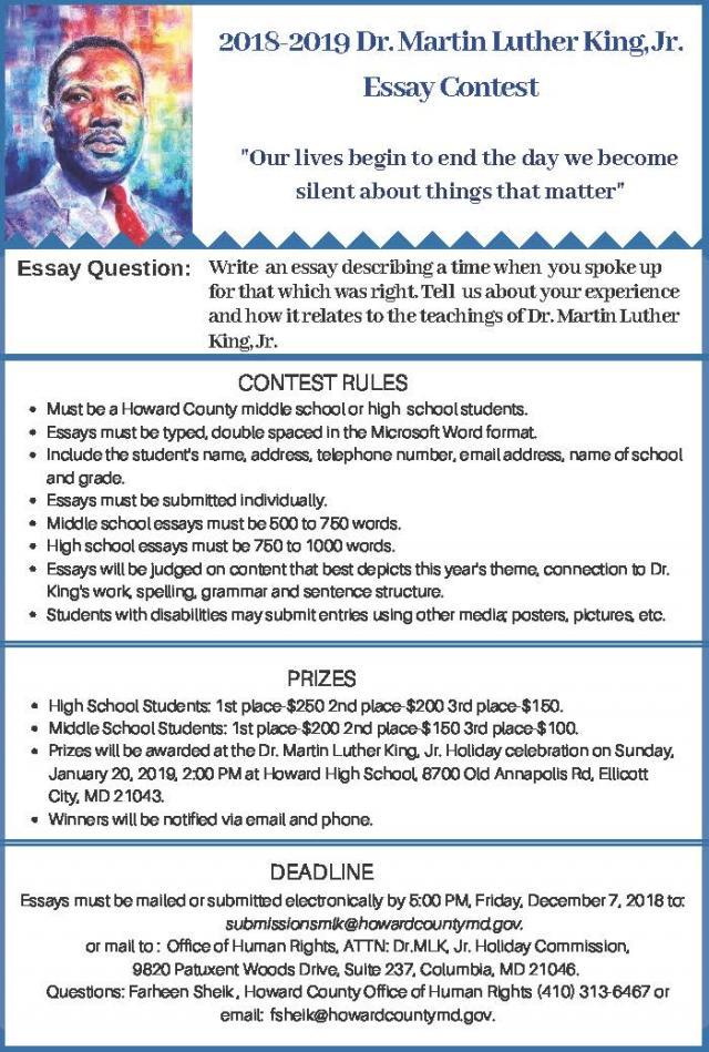 Mlk Essay Contest 2019 Glenelg High School
